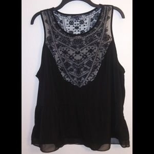 American Eagle Outfitters black lace tank 2X